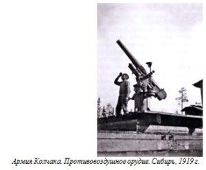 Армия Колчака. Противовоздушное орудие. Сибирь, 1919 г.