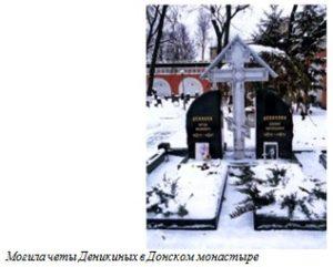 Могила четы Деникиных в Донском монастыре